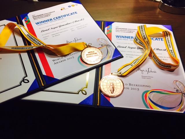Imagem dos certificados e medalhas recebidos na premiação, na Corea do Sul |Crédito: Acervo Pessoal